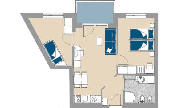 City Hotel Meran, Großzügige 2-Raum Suite (48 m²) mit Balkon und Panoramablick , 2 Schlafzimmer und Doppelschlafcouch für mehr Freiheiten. Badezimmer mit Dusche und allen nötigen Annehmlichkeiten.  Das Wohnzimmer mit Esstisch, Kochzeile (gegen Gebühr) und Couch lädt zum relaxen ein.