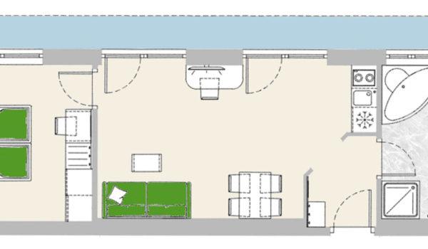 City Hotel Meran Panorama Suite, Beispiel Grundriss, (43-53 m²). Heller moderner Wohnraum mit Sitzecke, Doppelschlafcouch, Esstisch mit Kochecke (Benützung gegen Gebühr). Schlafzimmer mit großem Doppelbett. Das Badezimmer in Naturstein verfügt teils über Badewanne und Dusche, zudem Doppelwaschbecken, WC und Bidet.
