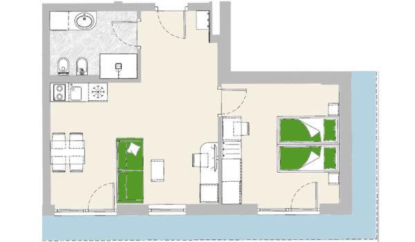City Hotel Meran, Panorama Suite  (43-53m²). Unser Highlight. Über den Dächern von Meran im 5. Stock.  Toller Ausblick auf die Berge Merans. Grosse Terrasse mit Liegen und Sonnenschirm.  Wohnzimmer mit Sitzecke, Doppelschlafcouch, Minibar, Schreibtisch. Kochzeile und Esstisch. King-size Doppelbett.