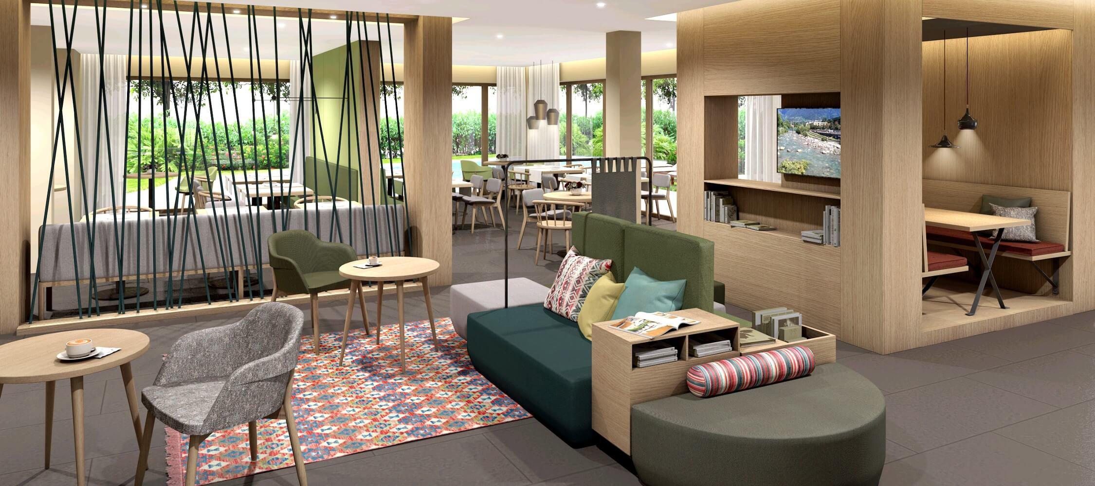 Hotel Flora, Meran, 3-Sterne Hotel, Appartements, Lobby, an der Kurpromenade, ruhig, zentral