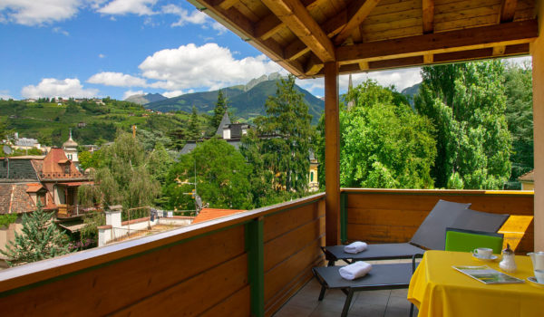From the private terrace, the view over the roofs of Merano. To the nearby old town or train station. ©Peter Paul Gasser