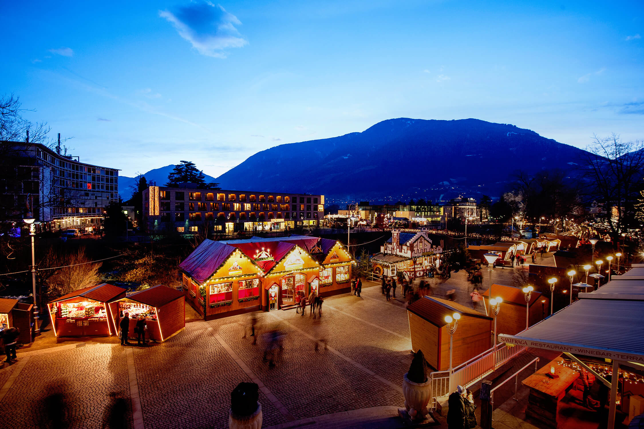 Historical center of Merano during wintertime with Christmas Market, P&H Family, Merano, Trentino, South Tyrol, Italy