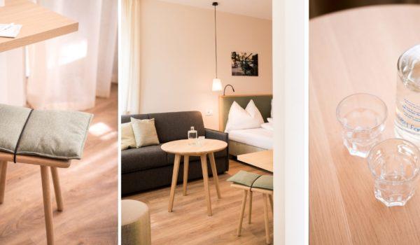 Die neuesten Zimmer im Flora: modern, Licht durchflutet, mit breiter Fensterfront und exklusiver Lage nach Süden. Ihr neues Südzimmer in Meran. ©Beatrice Pilotto