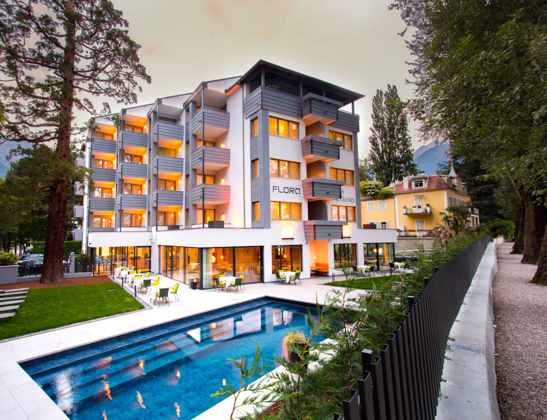 Flora Hotel & Suites, 3 stars, the main house of the company P & H Family, directly on the Merano spa promenade